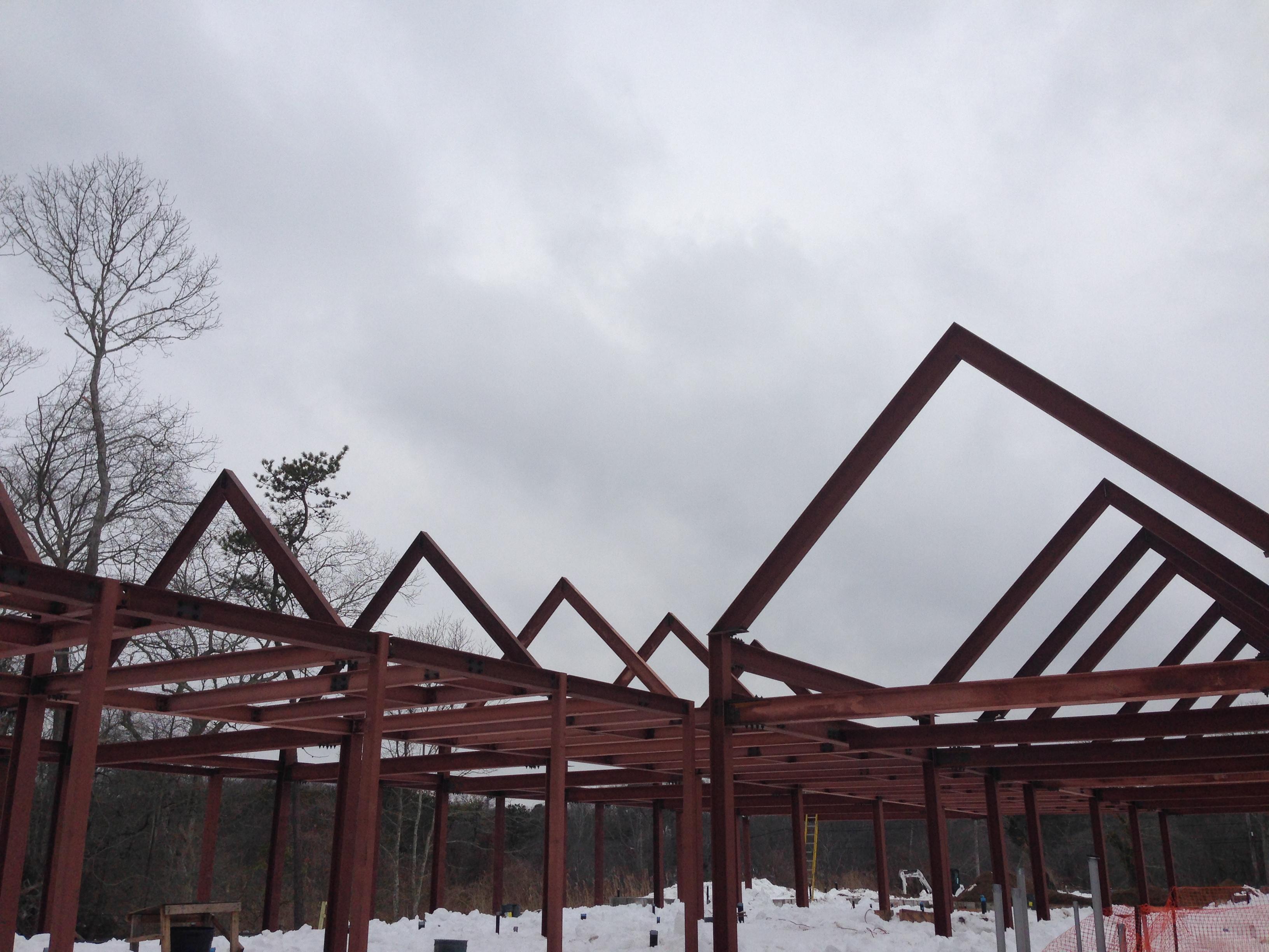 Steel beams in the snow