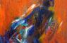 marilyn church sunset ocean swim 10 x5 acrylic on wood box art 2020 (2)